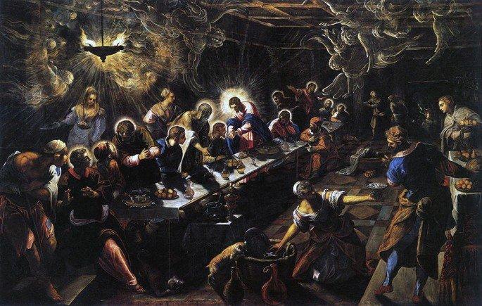 A última ceia, de Tintoretto, é uma tela sombria que retrata Jesus comendo junto aos seus discípulos