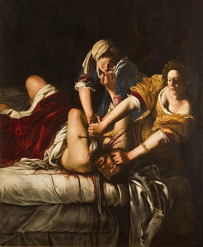 Judite decapitando Holofernes, de Artemisia Gentileschi, mostra mulher cortando a cabeça de homem com ajuda de outra mulher