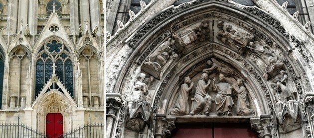 Esquerda: a porta vermelha. Direita: detalhes da parte superior da porta vermelha.