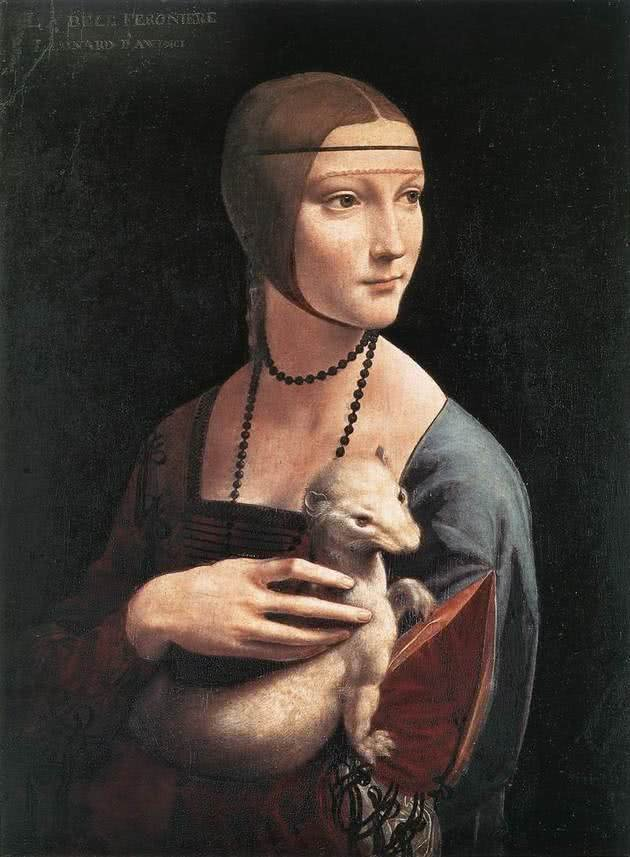 Dama com Arminho - 54 cm x 39 cm - Museu Czartoryski, Cracóvia, Polónia