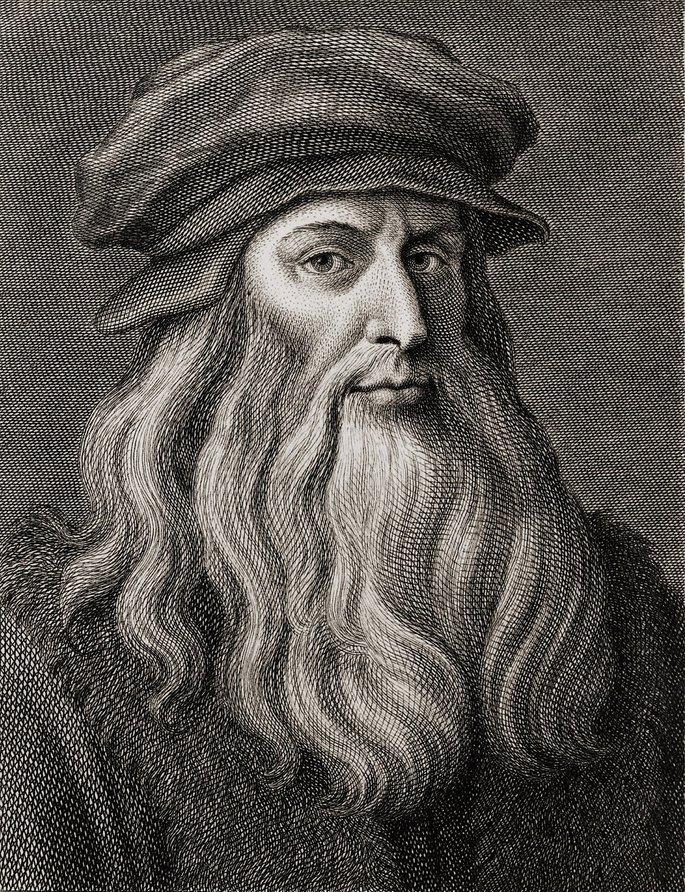 retrato de Leonardo da Vinci exibe homem de perfil com barba longa e boina