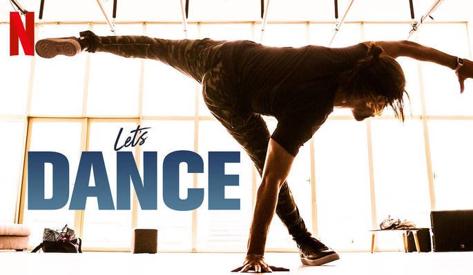 Cartaz do filme Let's dance exibe rapaz fazendo passo de dança com janela iluminada ao fundo.