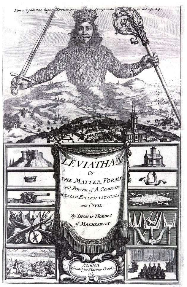 Frontispício datado de 1651da edição original do clássico de Hobbes.
