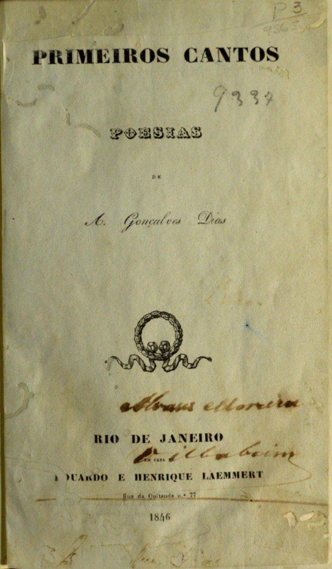 Capa da primeira edição do livro Primeiros cantos, de Gonçalves Dias, lançado em 1846.