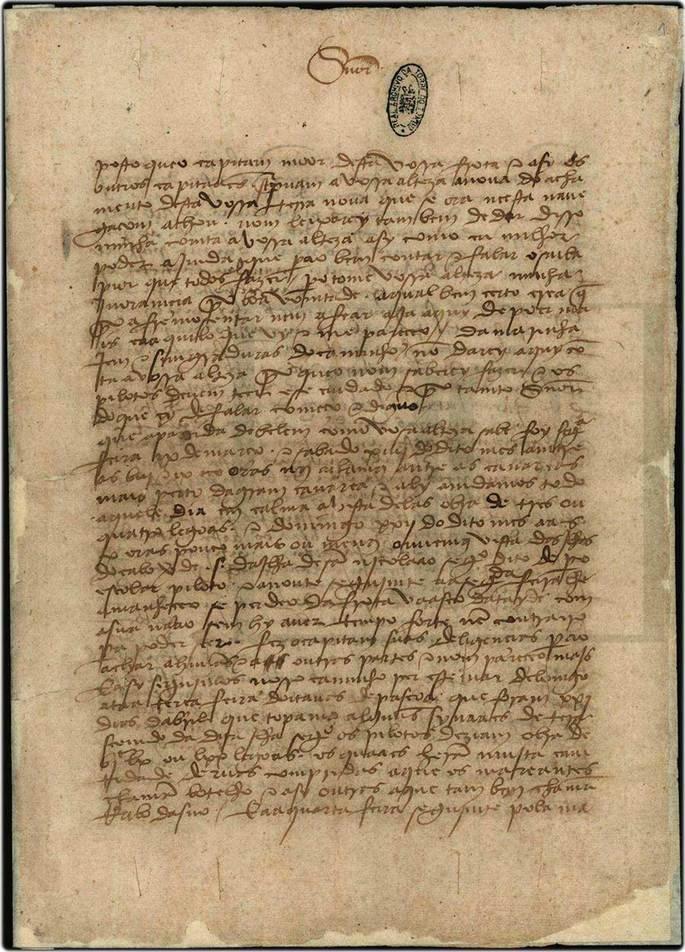 Manuscrito da carta de Pero Vaz de Caminha, 1500. Arquivo Nacional da Torre do Tombo