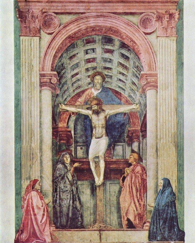Santíssima Trindade - afresco, 667 cm x317 cm - Masaccio, Santa Maria Novella, Florença