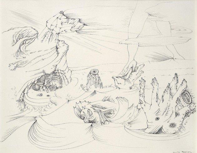 """""""La mer se retire"""" (O mar se recolhe, 1941) André Masson,"""