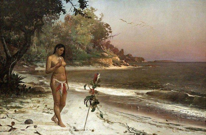 Quadro Iracema, de José Maria de Medeiros, sublinha a nudez da índia que tanto causou espanto no português.