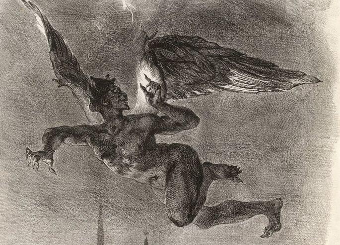 Mephistopheles voando sobre Wittenber por Eugène Delacroix.