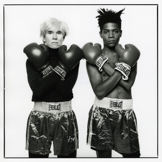 Retrato de Andy Warhol e Jean-Michel Basquiat.
