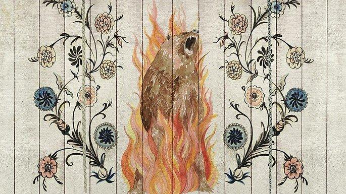 Desenho de urso queimando.