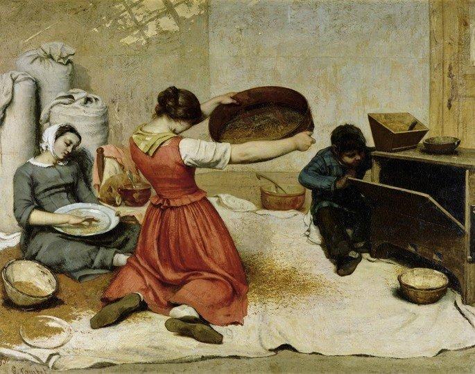 moças peneirando trigo courbet