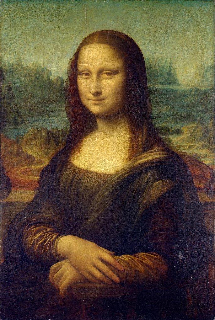 Mona Lisa, de Leonardo da Vinci, mostra uma mulher com as mãos sobre o colo e leve sorriso