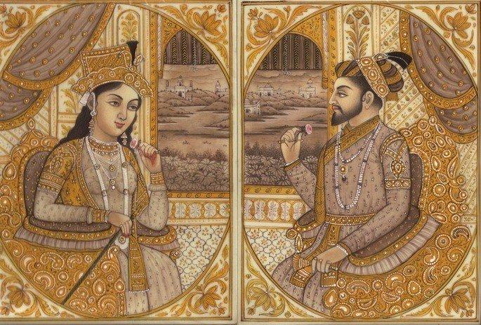 Pintura de Shah Jahan e Mumtaz Mahal.