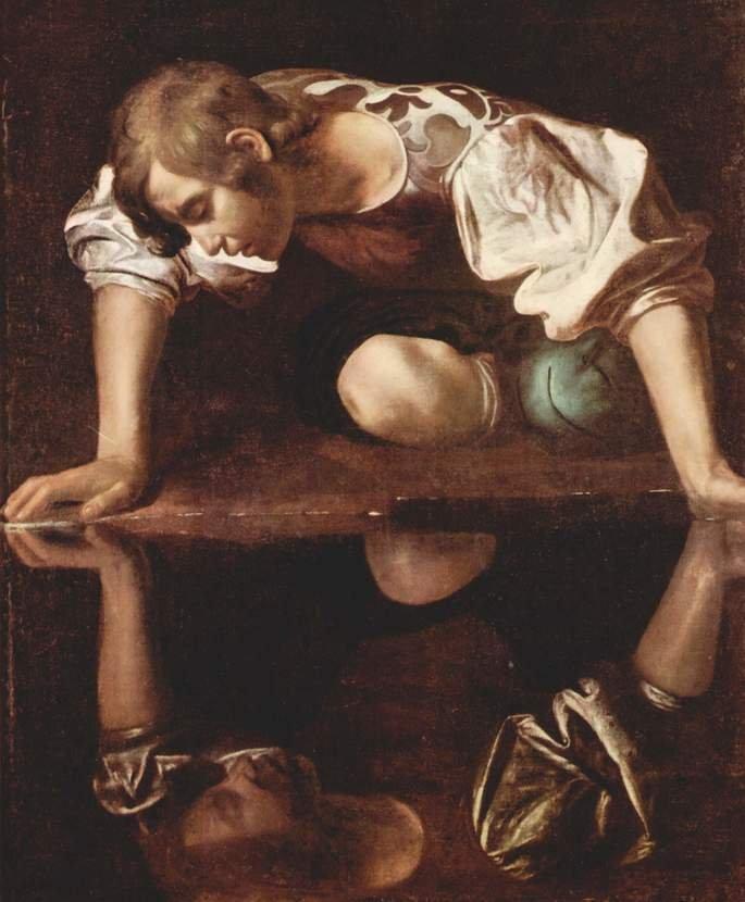 Narciso (1597 - 1599), pintado por Caravaggio.