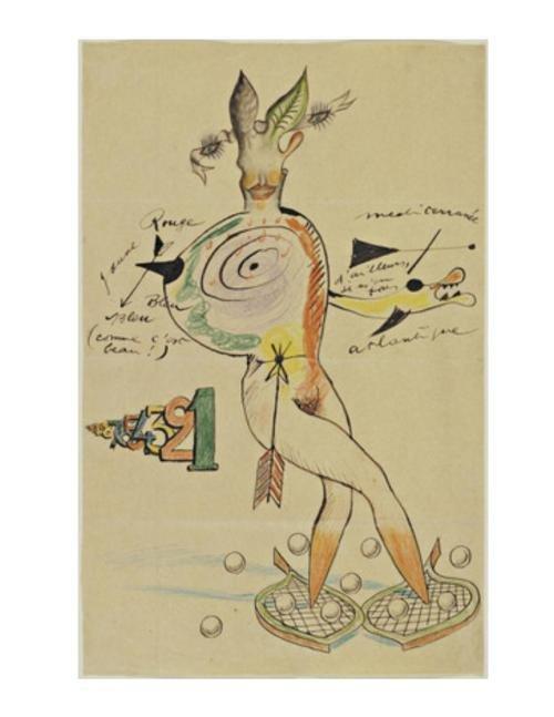 Exemplo de um Cadavre Exquis dos artistas Yves Tanguy, Joan Miró, Max Morise e Man Ray.