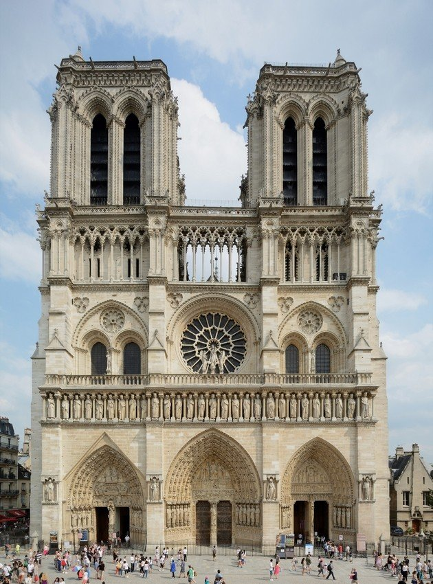 A fachada ocidental de Notre Dame.