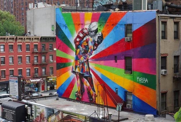 """Mural """"O Beijo"""" foi produzido em junho de 2012, em Manhattan, Chelsea."""