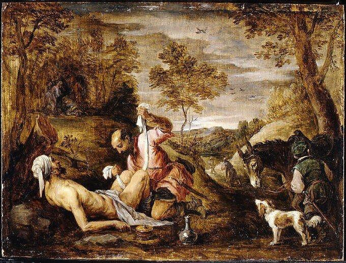 Quadro O bom samaritano por David Teniers, o Jovem