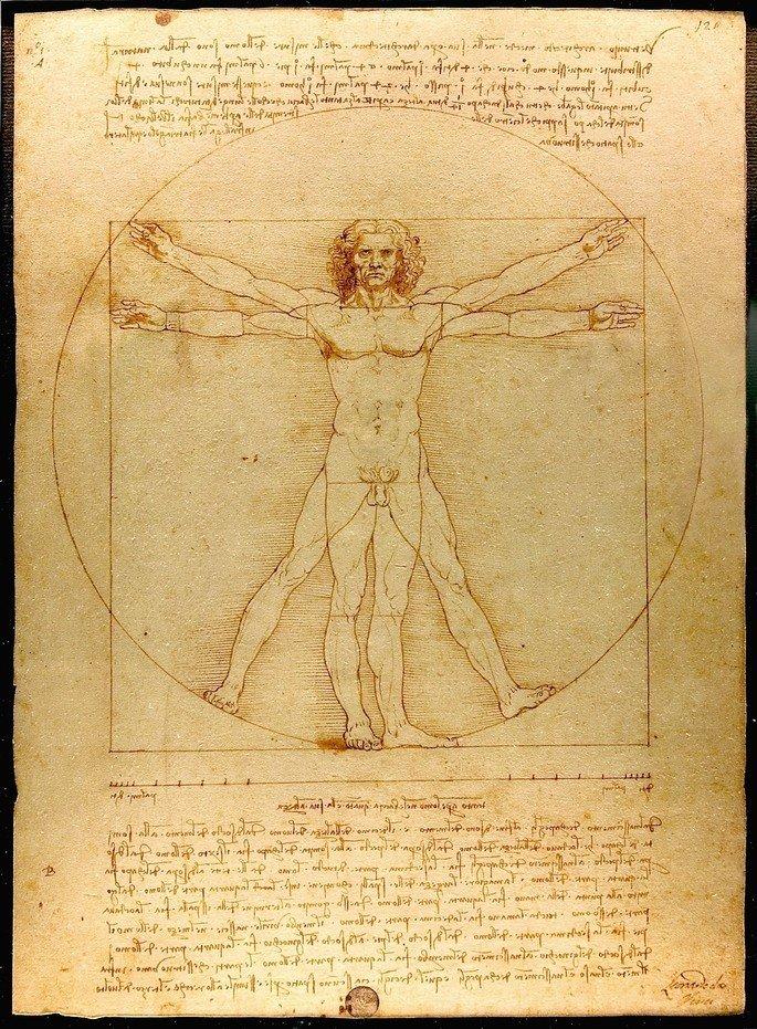 O homem vitruviano, de da Vinci, representa um homem nu de braços abertos dentro de um quadrado e um círculo