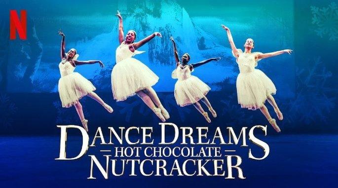Cartaz de Sonhar e dançar: o quebra nozes de chocolate exibe meninas negras dançando balé no palco