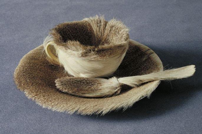 xícara revestida com pelos de animal, de Mert Oppenheim