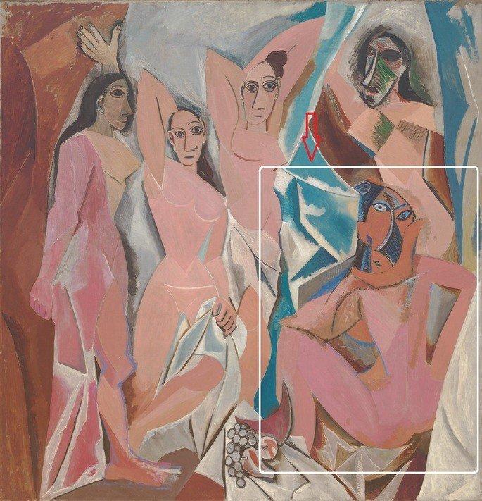 quadro As senhoritas de Avignon, de Picasso, exibe grupo de mulheres nuas em composição cubista