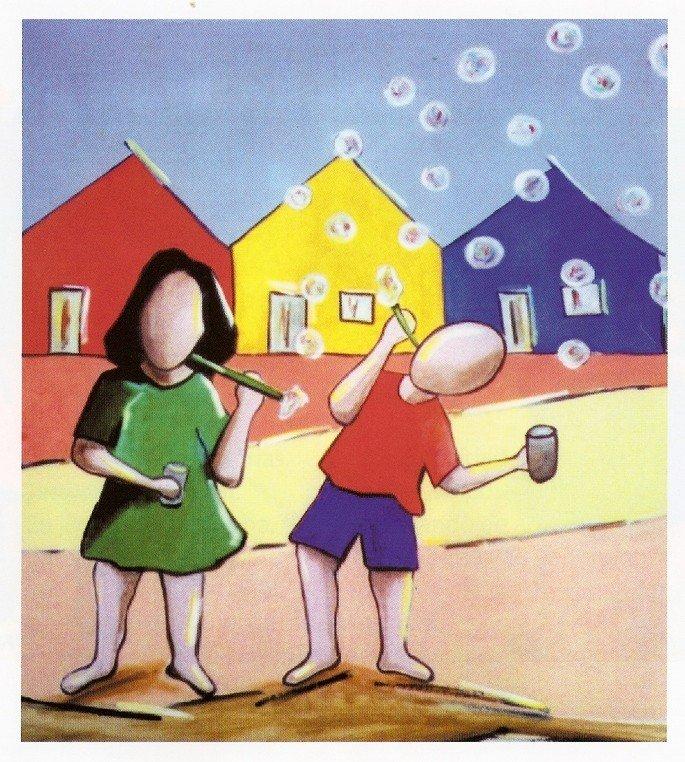 obra de Ivan Cruz com crianças assoprando bolinha de sabão
