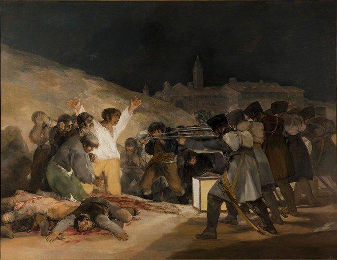 quadro de Goya retratando um fuzilamento em que um homem vestido de branco está com os braços abertos esperando ser assassinado