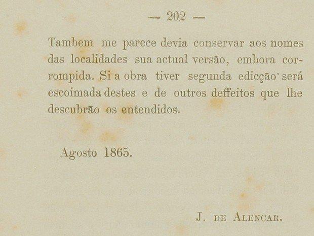 Pagina da primeira ediçao de Iracema.