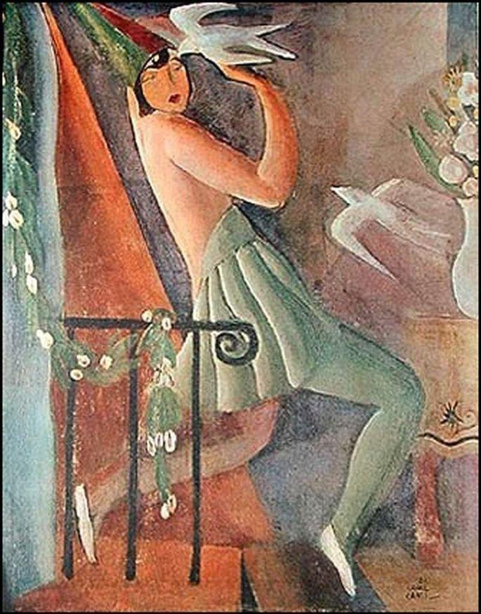 Pintura Pierrete, de Di Cavalcanti exibindo mulher fantasiada no carnaval com dois pássaros e vaso de flores