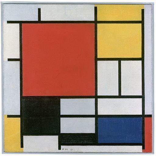 Composição em vermelho, amarelo, azul e preto