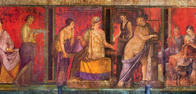 painel romano pintado exibindo figuras humanas em fundo vermelho