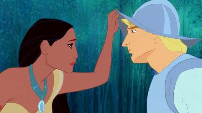 Pocahontas e John Smith.