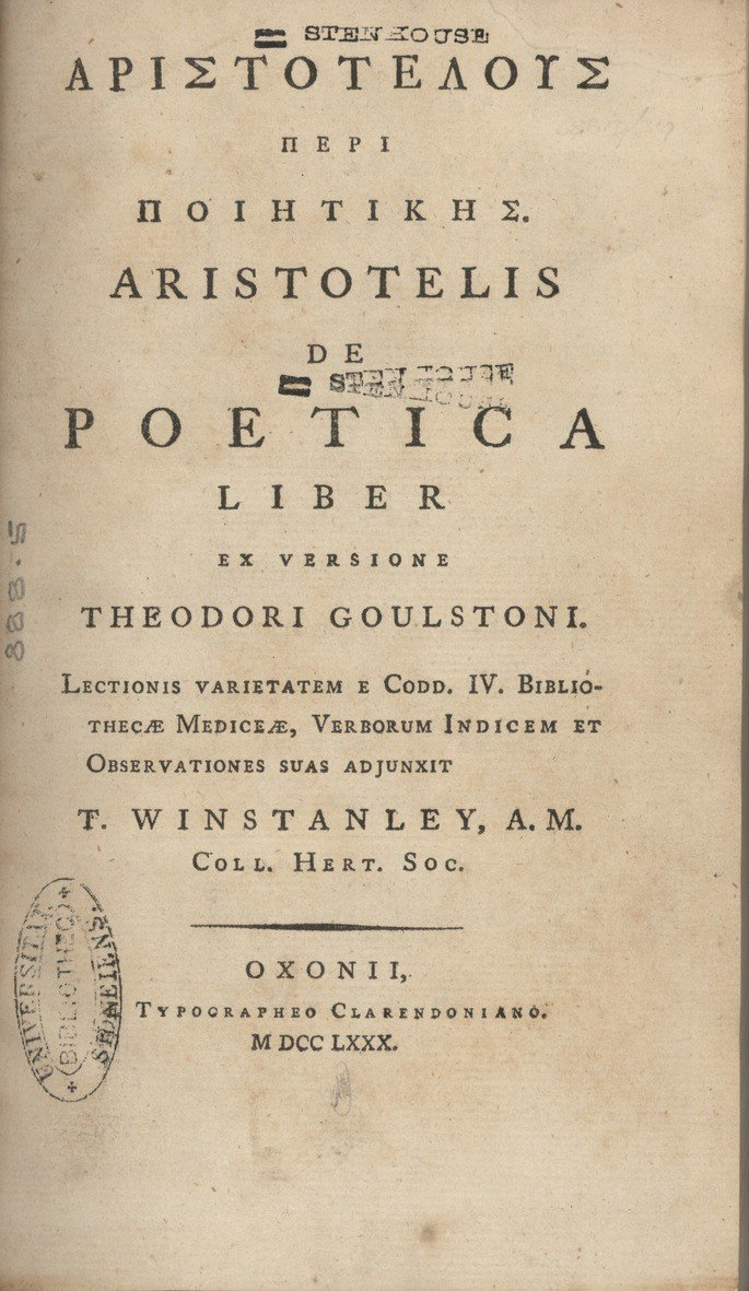 Capa de Poetica, de Aristoteles.