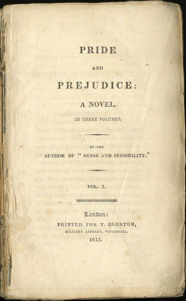 Frontispício da primeira edição de Pride and prejudice (Orgulho e preconceito).