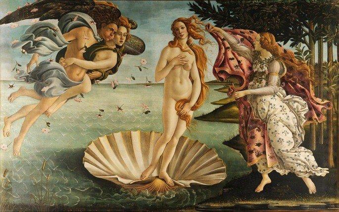 O nascimento de Vênus, de Botticelli, retrata uma mulher nua saindo de uma concha