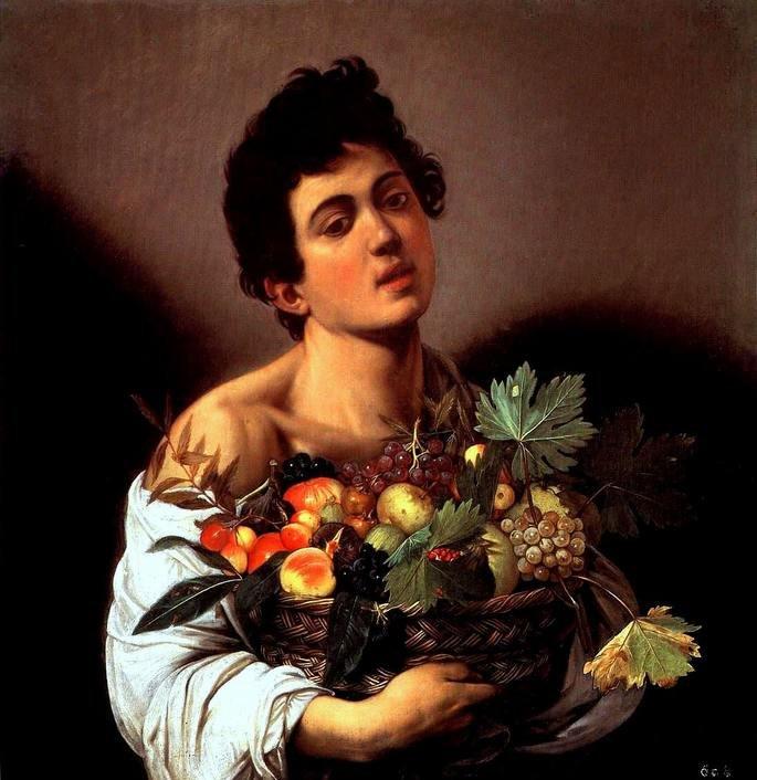 Quadro Rapaz com Cesto de Frutas.