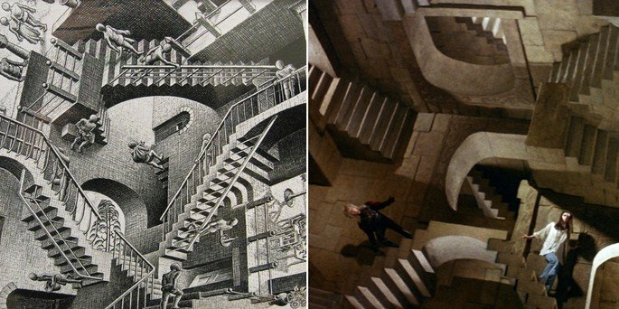 cena do filme Labirinto e obra de Echer