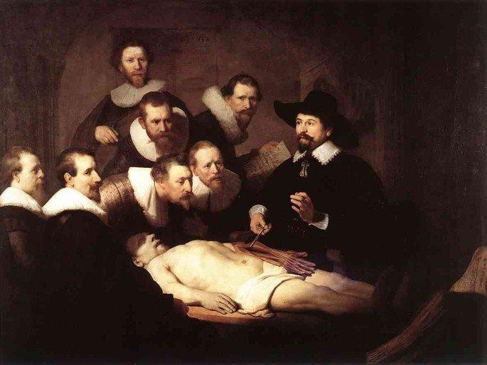 Quadro A Lição de Anatomia do Doutor Tulp, de autoria do pintor holandês Rembrandt