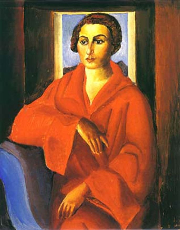 Retrato de Noêmia, obra de Di Cavalcanti retratando moça sentada em poltorna azul e vestida de vermelho