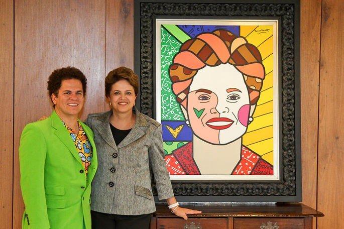 Romero Britto e Dilma Rousseff
