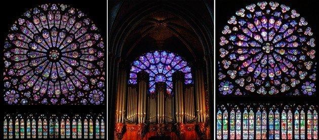 Esquerda: roseta do transepto norte. Centro: Roseta da fachada ocidental (observe o órgão tubular). Direita: roseta do transepto sul.