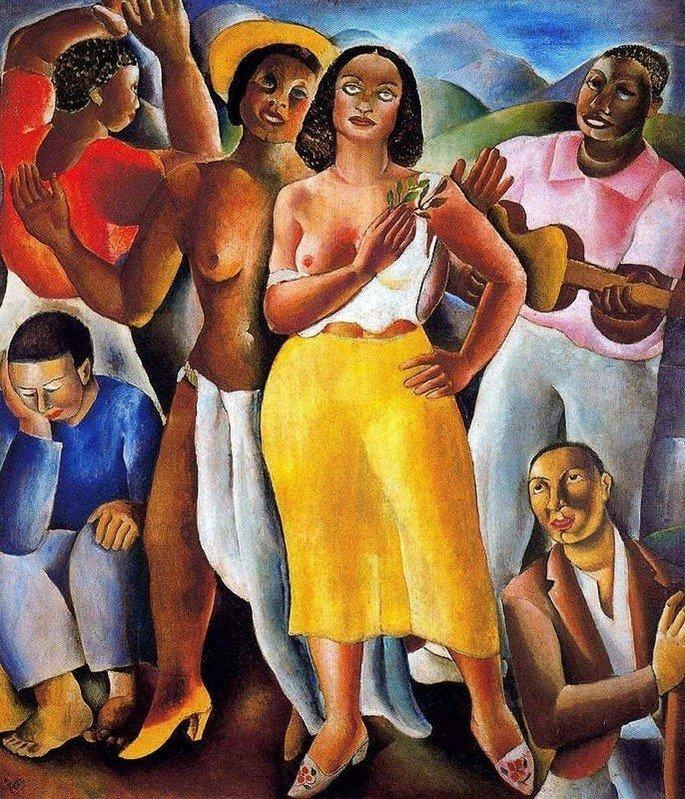 Quadro Samba, de Di Cavalcanti com duas moças com seio à mostra e homens tocando instrumentos no morro