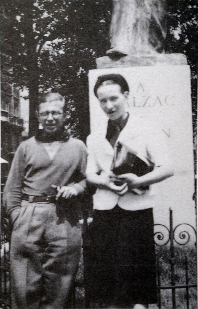 Retrato de Simone de Beauvoir e Sartre.
