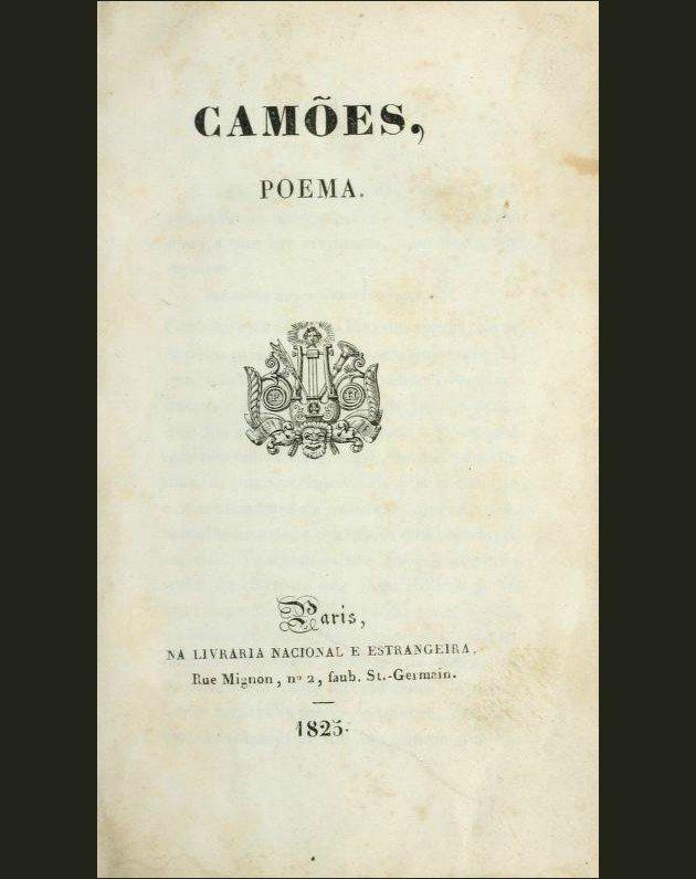Frontispício da primeira edição de Camões, o poema foi um marco do Romantismo em Portugal.