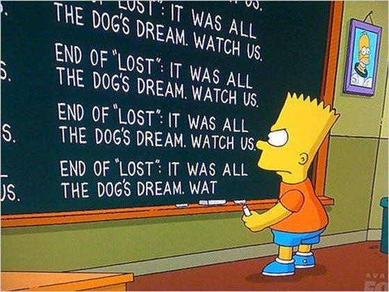 """Bart Simspon escrevendo """"Final de Lost: era tudo um sonho do cachorro""""."""