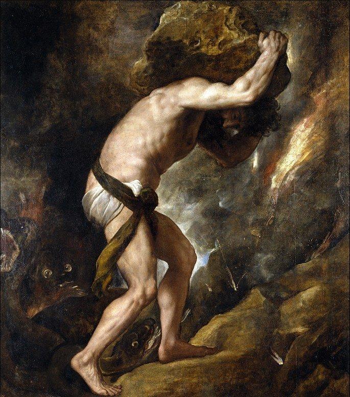 Pintura de Tiziano representando Sísifo empurrando uma pedra montanha acima.