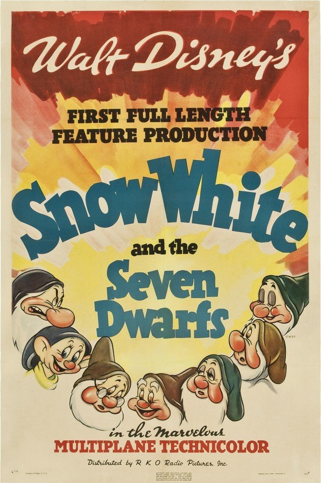 Cartaz do filme Branca de Neve e os sete anões lançado em 1937.