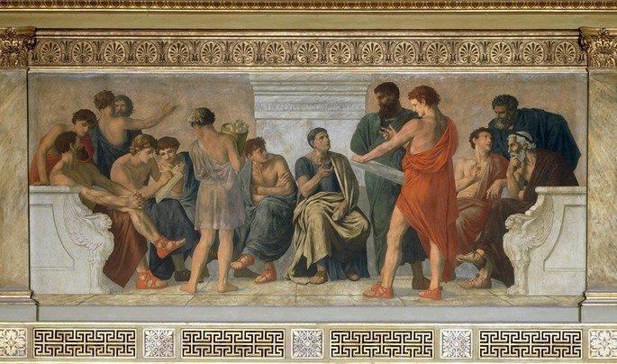 afresco de Gustav Adolph Spangenberg, A escola de Aristóteles